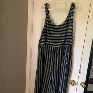 xhilaration black and white stripped jumpsuit